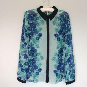 Lauren Conrad blue sheer floral blouse size M
